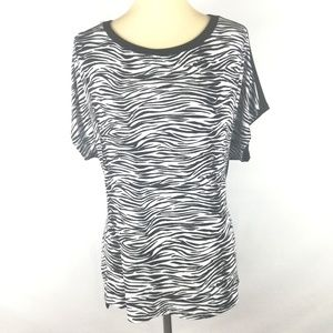 Ellen Tracy Zebra Print Short Sleeves Blouse.